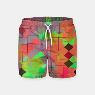 Thumbnail image of geometric square pixel pattern abstract in green orange red Swim Shorts, Live Heroes