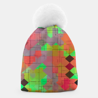 Thumbnail image of geometric square pixel pattern abstract in green orange red Beanie, Live Heroes
