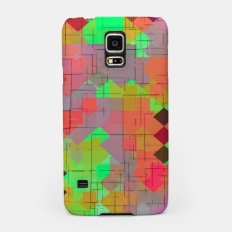 Miniaturka geometric square pixel pattern abstract in green orange red Samsung Case, Live Heroes