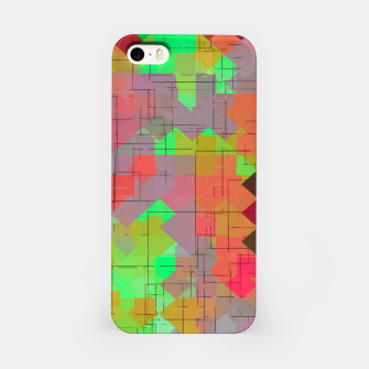 Miniaturka geometric square pixel pattern abstract in green orange red iPhone Case, Live Heroes