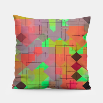 Miniaturka geometric square pixel pattern abstract in green orange red Pillow, Live Heroes