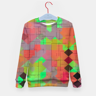Miniaturka geometric square pixel pattern abstract in green orange red Kid's sweater, Live Heroes