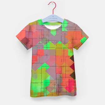 Miniaturka geometric square pixel pattern abstract in green orange red Kid's t-shirt, Live Heroes