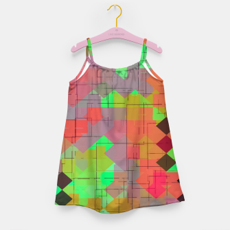 Miniaturka geometric square pixel pattern abstract in green orange red Girl's dress, Live Heroes