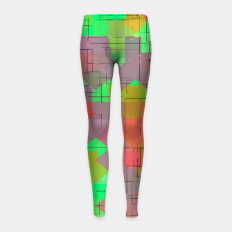 Miniaturka geometric square pixel pattern abstract in green orange red Girl's leggings, Live Heroes