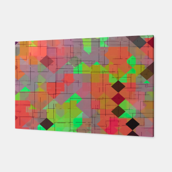 Miniaturka geometric square pixel pattern abstract in green orange red Canvas, Live Heroes