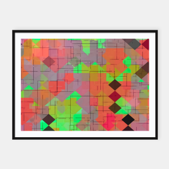 Miniaturka geometric square pixel pattern abstract in green orange red Framed poster, Live Heroes