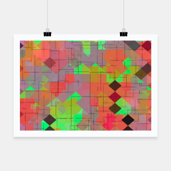 Miniaturka geometric square pixel pattern abstract in green orange red Poster, Live Heroes
