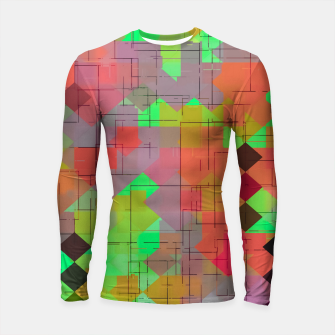 Miniaturka geometric square pixel pattern abstract in green orange red Longsleeve rashguard , Live Heroes
