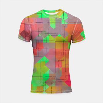 Miniaturka geometric square pixel pattern abstract in green orange red Shortsleeve rashguard, Live Heroes