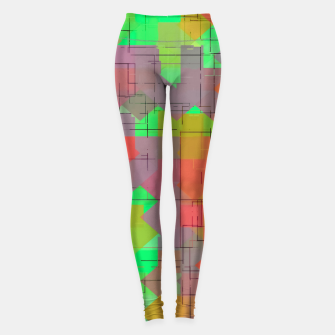Miniaturka geometric square pixel pattern abstract in green orange red Leggings, Live Heroes