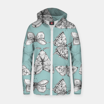 Thumbnail image of Moth: Dusty Blue Cotton zip up hoodie, Live Heroes