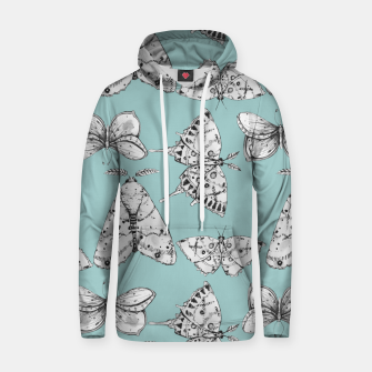 Thumbnail image of Moth: Dusty Blue Cotton hoodie, Live Heroes