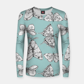 Thumbnail image of Moth: Dusty Blue Woman cotton sweater, Live Heroes