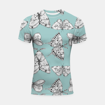 Thumbnail image of Moth: Dusty Blue Shortsleeve rashguard, Live Heroes