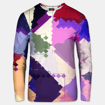 Miniaturka geometric square pixel and triangle pattern abstract in pink purple blue Cotton sweater, Live Heroes