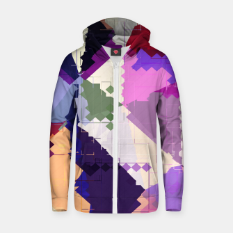 Miniaturka geometric square pixel and triangle pattern abstract in pink purple blue Cotton zip up hoodie, Live Heroes