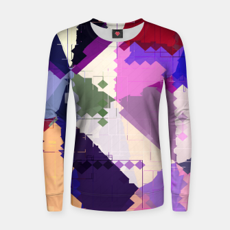 Miniaturka geometric square pixel and triangle pattern abstract in pink purple blue Woman cotton sweater, Live Heroes