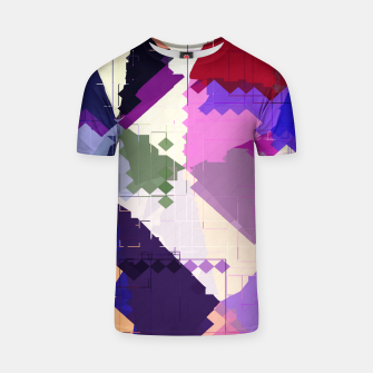 Miniaturka geometric square pixel and triangle pattern abstract in pink purple blue T-shirt, Live Heroes