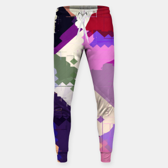 Miniaturka geometric square pixel and triangle pattern abstract in pink purple blue Cotton sweatpants, Live Heroes