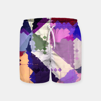 Miniaturka geometric square pixel and triangle pattern abstract in pink purple blue Swim Shorts, Live Heroes