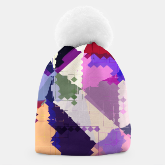 Miniaturka geometric square pixel and triangle pattern abstract in pink purple blue Beanie, Live Heroes