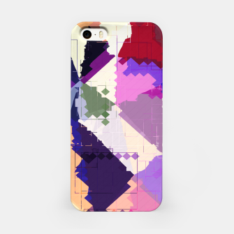 Miniaturka geometric square pixel and triangle pattern abstract in pink purple blue iPhone Case, Live Heroes