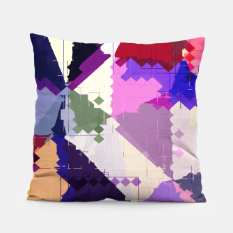 Miniaturka geometric square pixel and triangle pattern abstract in pink purple blue Pillow, Live Heroes