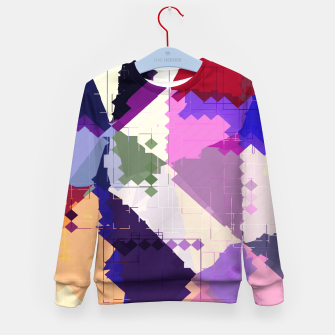 Miniaturka geometric square pixel and triangle pattern abstract in pink purple blue Kid's sweater, Live Heroes