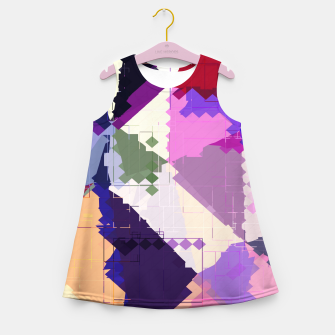 Miniaturka geometric square pixel and triangle pattern abstract in pink purple blue Girl's summer dress, Live Heroes