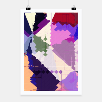 Miniaturka geometric square pixel and triangle pattern abstract in pink purple blue Poster, Live Heroes