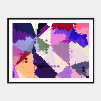 Miniaturka geometric square pixel and triangle pattern abstract in pink purple blue Framed poster, Live Heroes