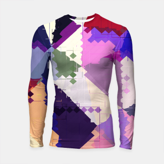 Miniaturka geometric square pixel and triangle pattern abstract in pink purple blue Longsleeve rashguard , Live Heroes