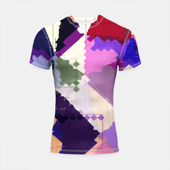 Miniaturka geometric square pixel and triangle pattern abstract in pink purple blue Shortsleeve rashguard, Live Heroes
