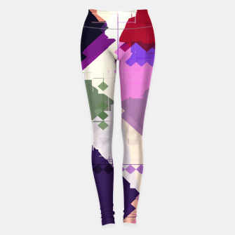 Miniaturka geometric square pixel and triangle pattern abstract in pink purple blue Leggings, Live Heroes