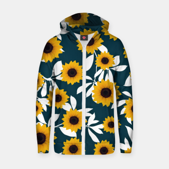 Thumbnail image of Sunflower pattern Cotton zip up hoodie, Live Heroes