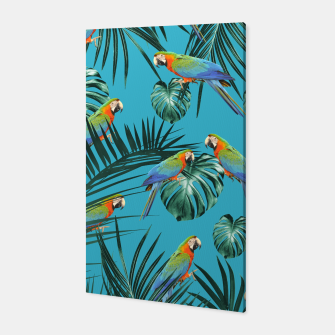 Thumbnail image of Parrots in the Tropical Jungle #2 #tropical #decor #art Canvas, Live Heroes