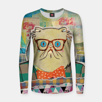 Thumbnail image of Hipster cat mixed media digital art collage  Woman cotton sweater, Live Heroes