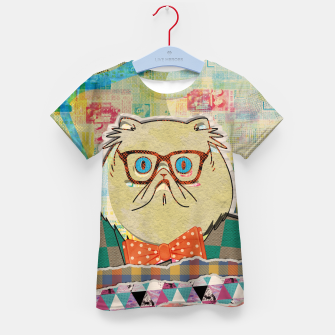 Thumbnail image of Hipster cat mixed media digital art collage  Kid's t-shirt, Live Heroes