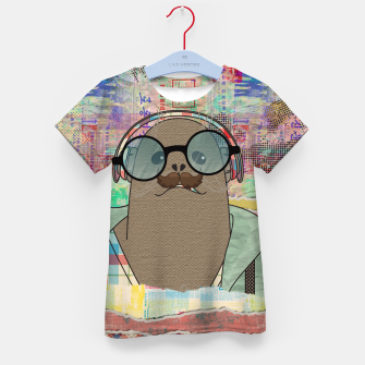 Thumbnail image of Hipster Seal  mixed media digital art collage  Kid's t-shirt, Live Heroes