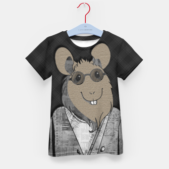 Thumbnail image of Hipster Mouse  mixed media digital art collage  Kid's t-shirt, Live Heroes