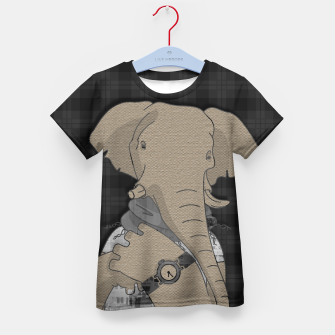 Thumbnail image of Hipster Elephant  mixed media digital art collage  Kid's t-shirt, Live Heroes