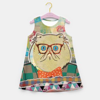 Thumbnail image of Hipster cat mixed media digital art collage  Girl's summer dress, Live Heroes