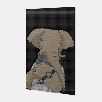 Thumbnail image of Hipster Elephant  mixed media digital art collage  Canvas, Live Heroes