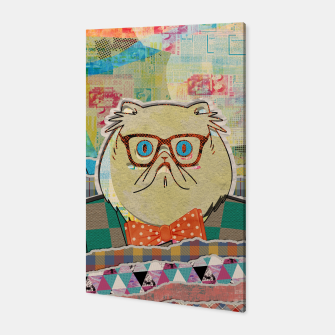 Thumbnail image of Hipster cat mixed media digital art collage  Canvas, Live Heroes