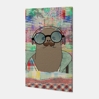Thumbnail image of Hipster Seal  mixed media digital art collage  Canvas, Live Heroes