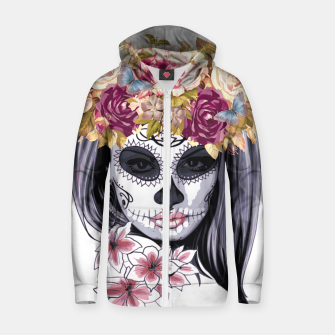Thumbnail image of Flower Head Skull Cotton zip up hoodie, Live Heroes