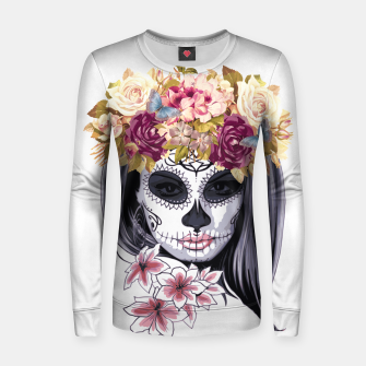 Thumbnail image of Flower Head Skull Woman cotton sweater, Live Heroes