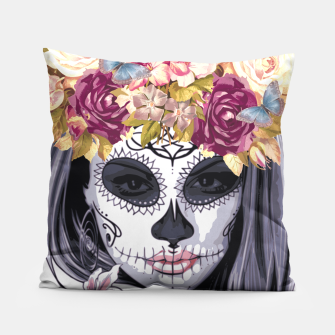 Thumbnail image of Flower Head Skull Pillow, Live Heroes