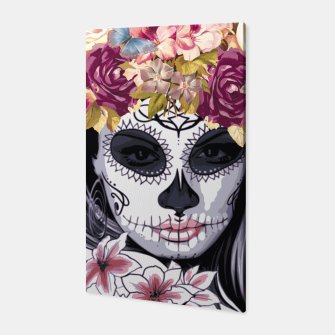 Thumbnail image of Flower Head Skull Canvas, Live Heroes